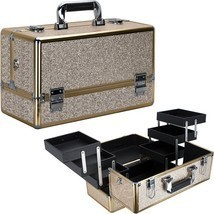 Train Case Makeup Organizer Cosmetic Beauty Travel Storage Aluminum Box ... - $79.19