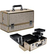 Train Case Makeup Organizer Cosmetic Beauty Travel Storage Aluminum Box ... - £61.71 GBP