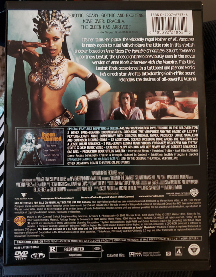 Queen of The Damned dvd Vampire movie sci fi shows full screen