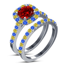 14k White Gold Plated 925 Pure Silver Multi Color Stone Bridal Wedding Ring Set