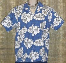 Makapuu Hawaiian Shirt Blue White Size Large - $18.95