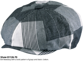 Who Ced Cotton Newsboy Cap Bold Plaid Pattern Black Gray And White - £34.36 GBP