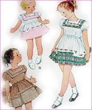 Vtg 1940s Girls DRESS PATTERN w/ Transfer McCall Sz 4 Sqaure Collar Full... - $17.82