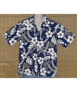 KY's International Fashion Hawaiian Shirt Blue White Floral XL - $19.95