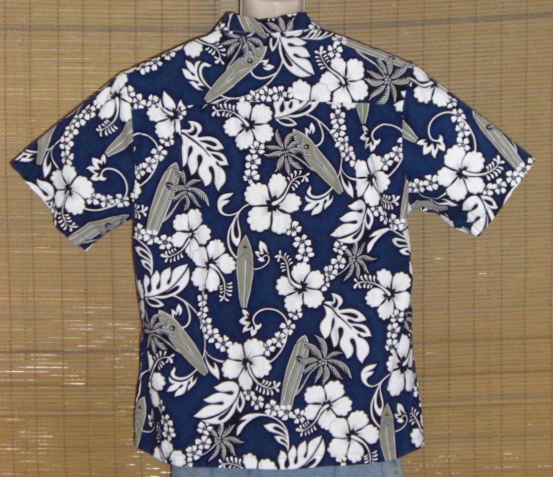 KY's International Fashion Hawaiian Shirt Blue White Floral XL