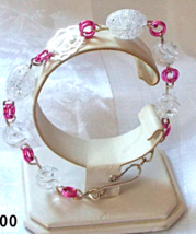Jewelry By Two Gems (B34) Pink Aluminum with Roses and Quartz Bracelet - $35.00