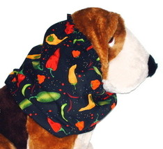 Dog Snood Chili Peppers Black Cotton Spaniel Basset Hound Afghan Puppy R... - $10.50