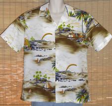 Kai Nani Hawaiian Shirt Cream Brown 1970s XL - $39.95