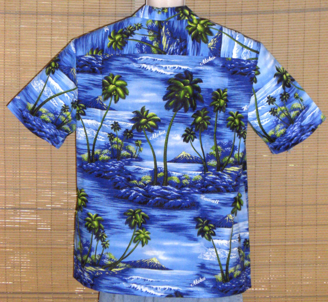 Royal Creations Hawaiian Shirt Blue Islands XL NWOT
