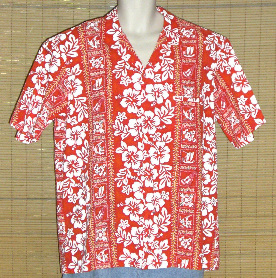 Primary image for Royal Creations Hawaiian Shirt Red White XL