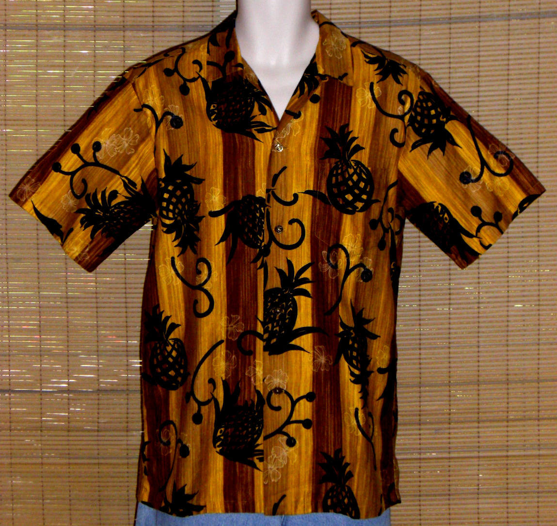 Reyn's Menswear Hawaiian Shirt Vintage 1950 Brown Gold Black Small