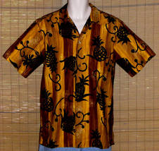 Reyn's Menswear Hawaiian Shirt Vintage 1950 Brown Gold Black Small - $64.95