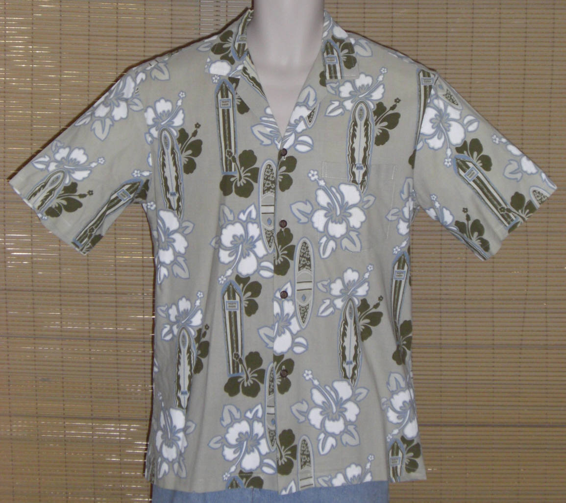 Primary image for Pacific Legend Hawaiian Shirt Beige Green Blue Brown Medium