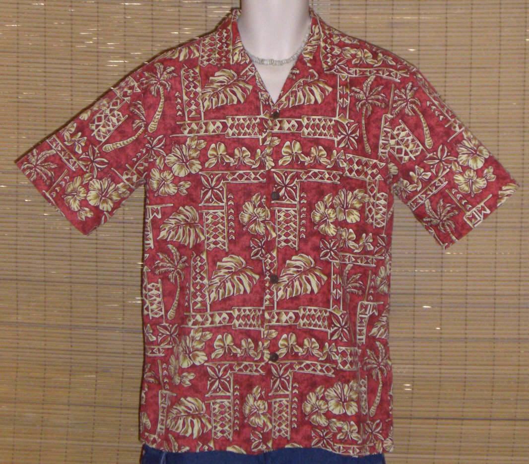 Royal Creations Hawaiian Shirt Red Tan Medium - $24.99