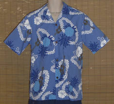 Royal Creations Hawaiian Shirt Blue White Medium - $21.99