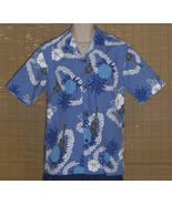 Royal Creations Hawaiian Shirt Blue White Medium - $21.99