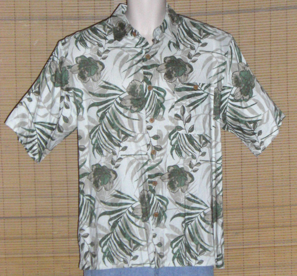 Puritan Hawaiian Shirt 1980s White Green Medium