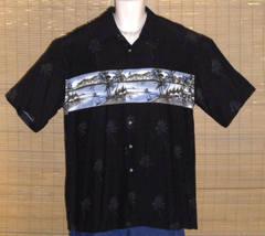 Pierre Cardin Hawaiian Shirt Black Large - $21.99
