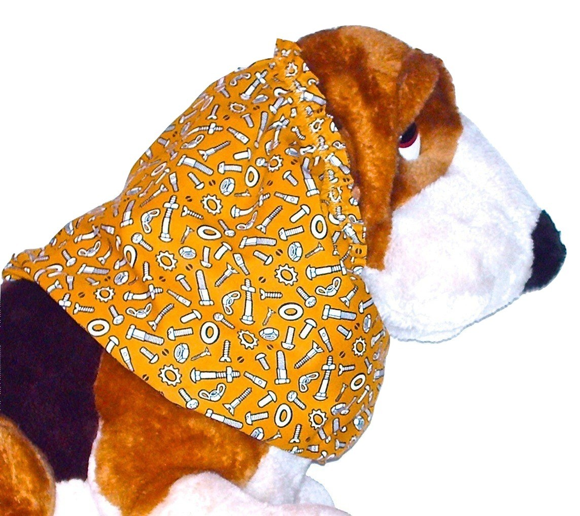 Primary image for Dog Snood Nuts Bolts Gold Cotton Cavalier KC Spaniel Cocker Lhasa Puppy SHORT