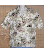 Pussers West Indies Hawaiian Shirt White Brown Pink Large - $16.95