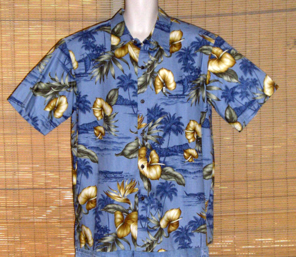 Primary image for Paradise Bay Hawaiian Shirt Blue Tan XL NWT