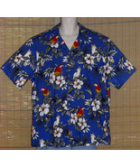 RJC Limited Hawaiian Shirt Blue with Red Parrots White Flowers 2XL - $17.95