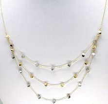 18K YELLOW WHITE GOLD STRAND NECKLACE, MULTI THREE WIRES WITH CUBES, ITALY MADE image 2