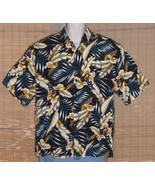 Ringo Sport Hawaiian Shirt 1970s Black Blue Tan Large - $15.95