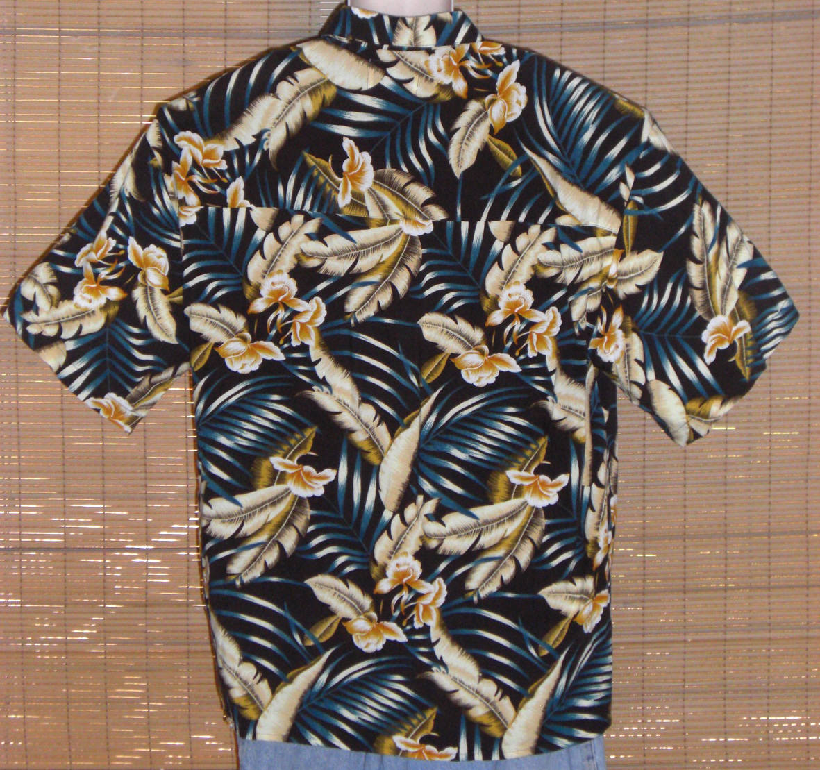 Ringo Sport Hawaiian Shirt 1970s Black Blue Tan Large