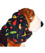 Dog Snood Chili Peppers Black Cotton Cavalier KC Spaniel Cocker Puppy SHORT - $9.50