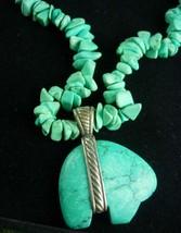 Vintage Indian Nugget sterling necklace Bear Fetish pendant Primitive work  - $225.00