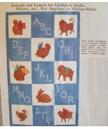 1930's Crib quilt pattern - Animals & Letters Applique or Outline mc1835 - $10.00