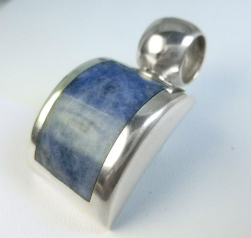Artisan Crafted Sterling Sodalite Gemstone Square Pendant