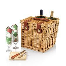 Primary image for Wine Cheese Picnic Basket With Wine Glasses/Accessories