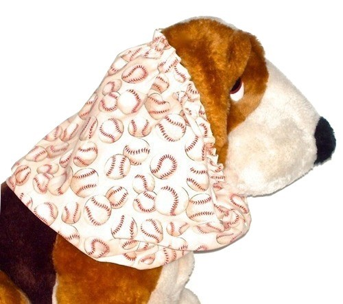 Beige Baseballs Print Cotton Dog Snood Size Puppy REGULAR CLEARANCE