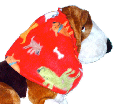 Primary image for Dog Snood Multicolor Happy Puppies on Red Fleece Spaniel Afghan Puppy REGULAR