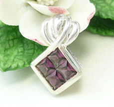 Sterling Princess Cut Plum Garnet Pendant - $49.00