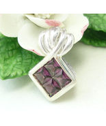 Sterling Princess Cut Plum Garnet Pendant - $38.00