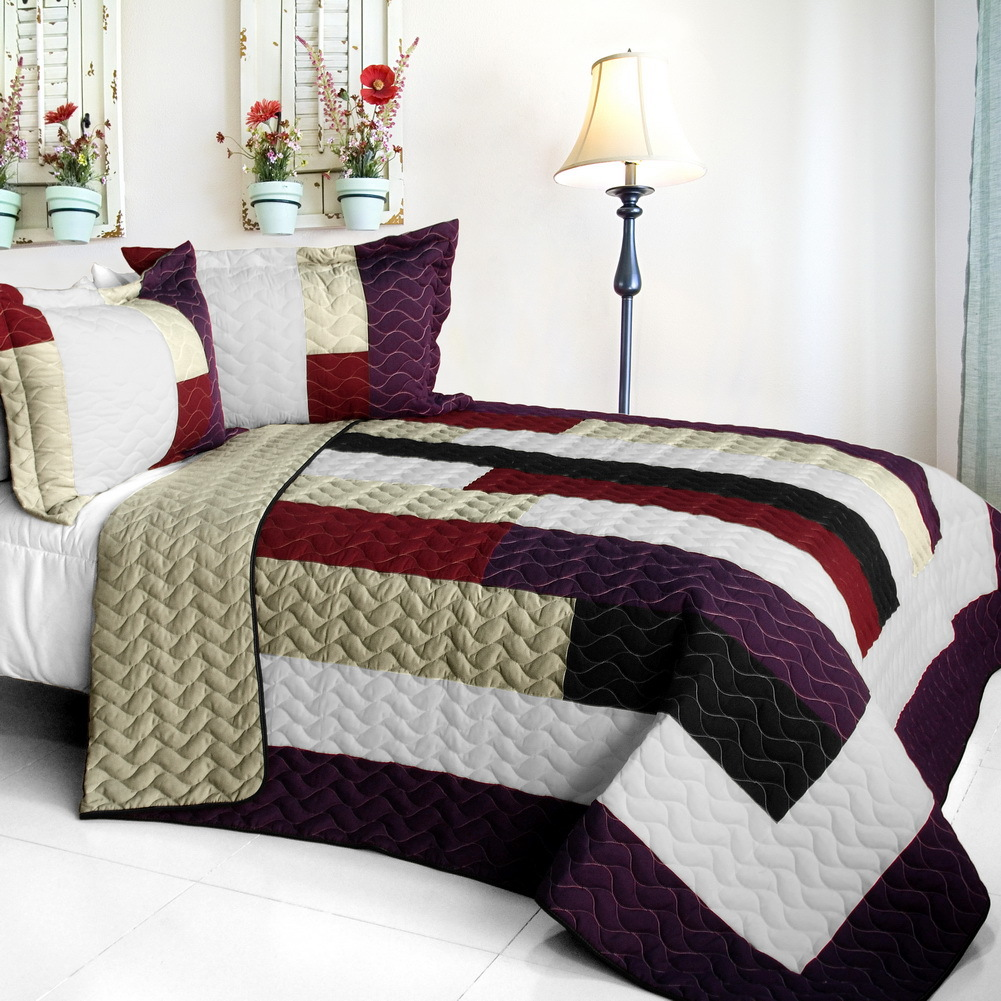 Primary image for [Eternal Promiss] 3PC Vermicelli-Quilted Patchwork Quilt Set (Full/Queen Size)