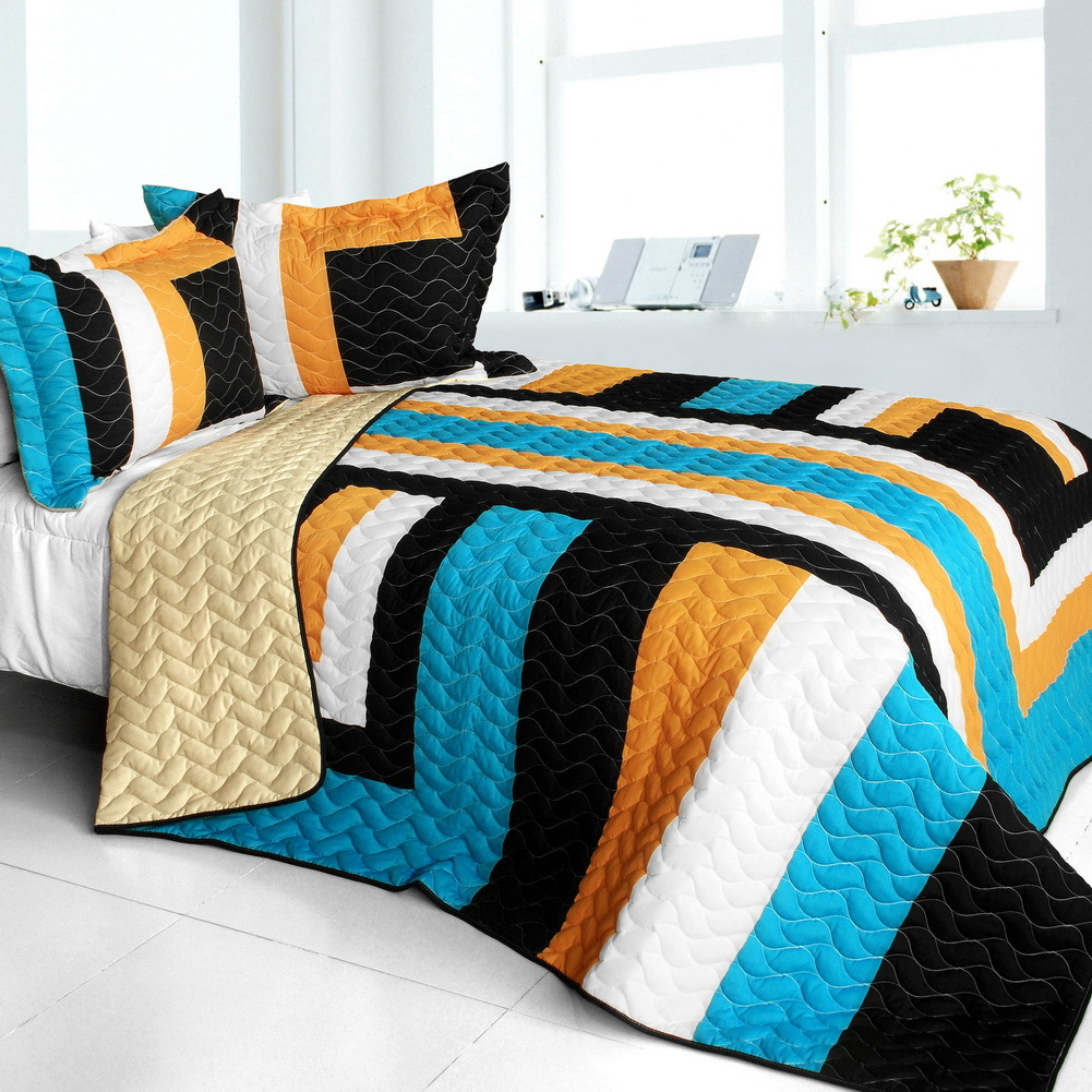 Primary image for [Drive Till Dawn] 3PC Vermicelli-Quilted Patchwork Quilt Set (Full/Queen Size)