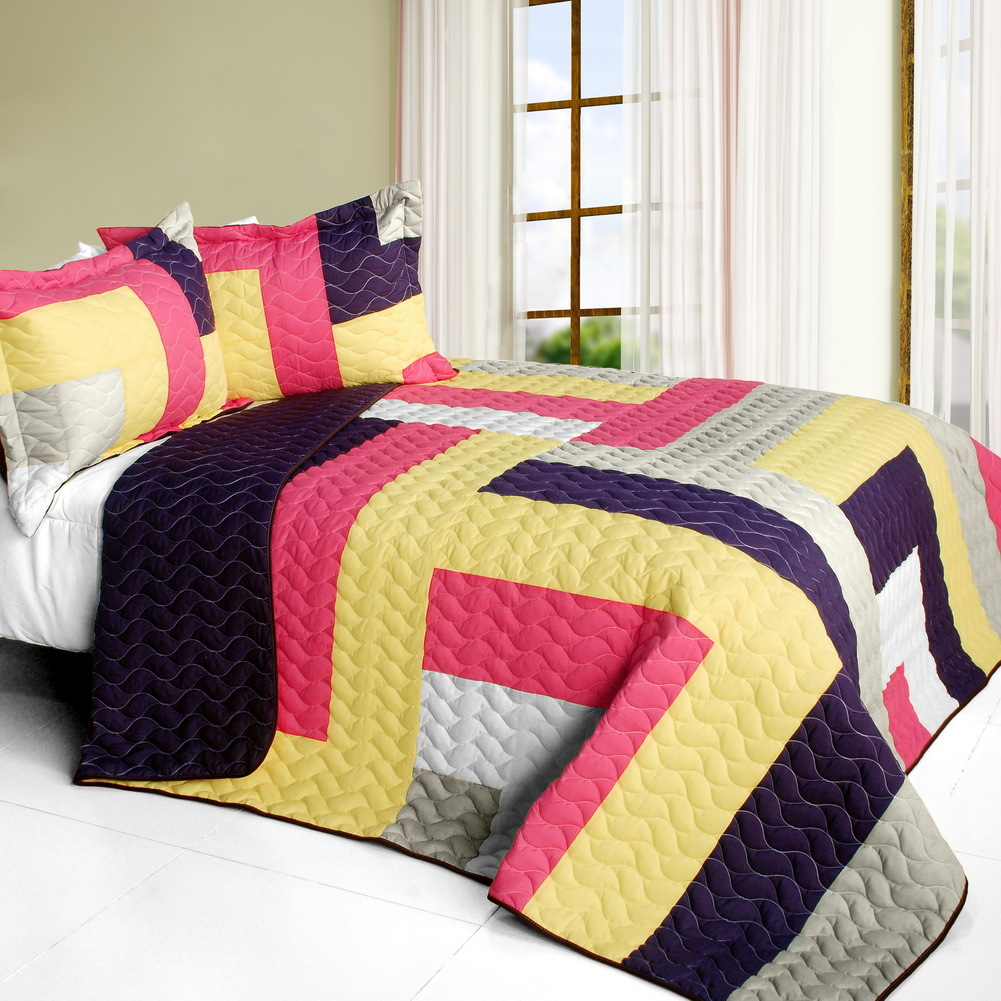 Primary image for [Bright Spring Day] 3PC Vermicelli-Quilted Patchwork Quilt Set (Full/Queen Size)