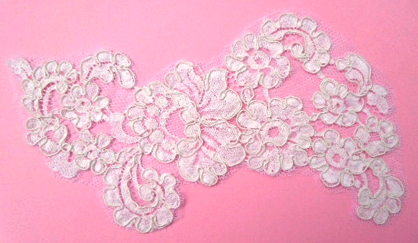 "Primary image for Large White Embroidered Alencon Lace Applique Approx  8 1/2"" x 5"" #6762"