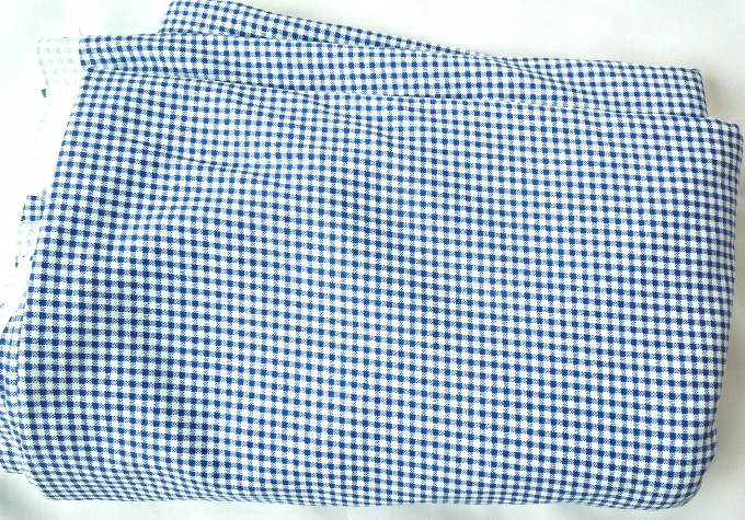 Primary image for 2 Yd Light Weight Cotton Flannel Navy Blue and White Checkered Fabric #40976