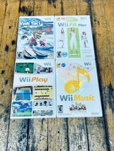 Wii (4) Game Lot Wii Fit Plus, Wii Play, We Ski, And Wii Music Tested - $34.64