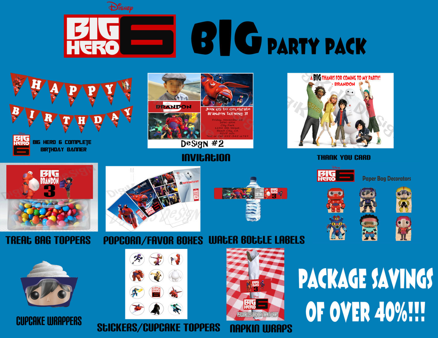 Primary image for Big Hero 6 Personalized Birthday Party Pack Printable (DIY)