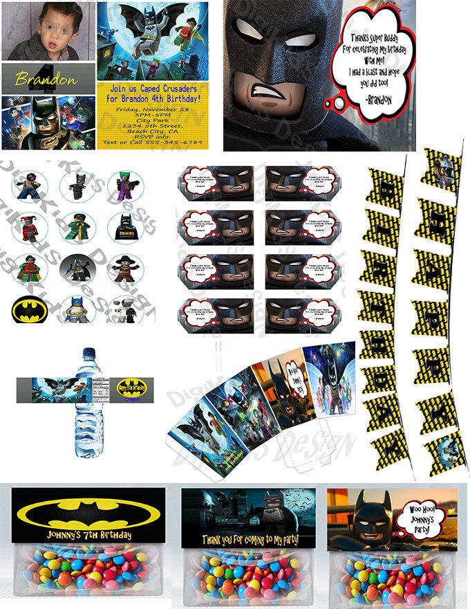 Printable Lego Batman Personalized Birthday Thank You Tags Set of 8