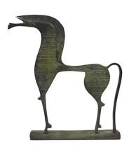 Horse statue longface with carvings ancient Greek bronze reproduction sculpture - $89.90