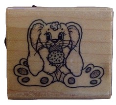 Rubber Stamp, Bunny eating Ice Cream Cone, Embossing Arts - $7.50