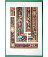 BAROQUE Tapestry & Borders Mortlake England - COLOR Litho Print by Racinet - $25.65