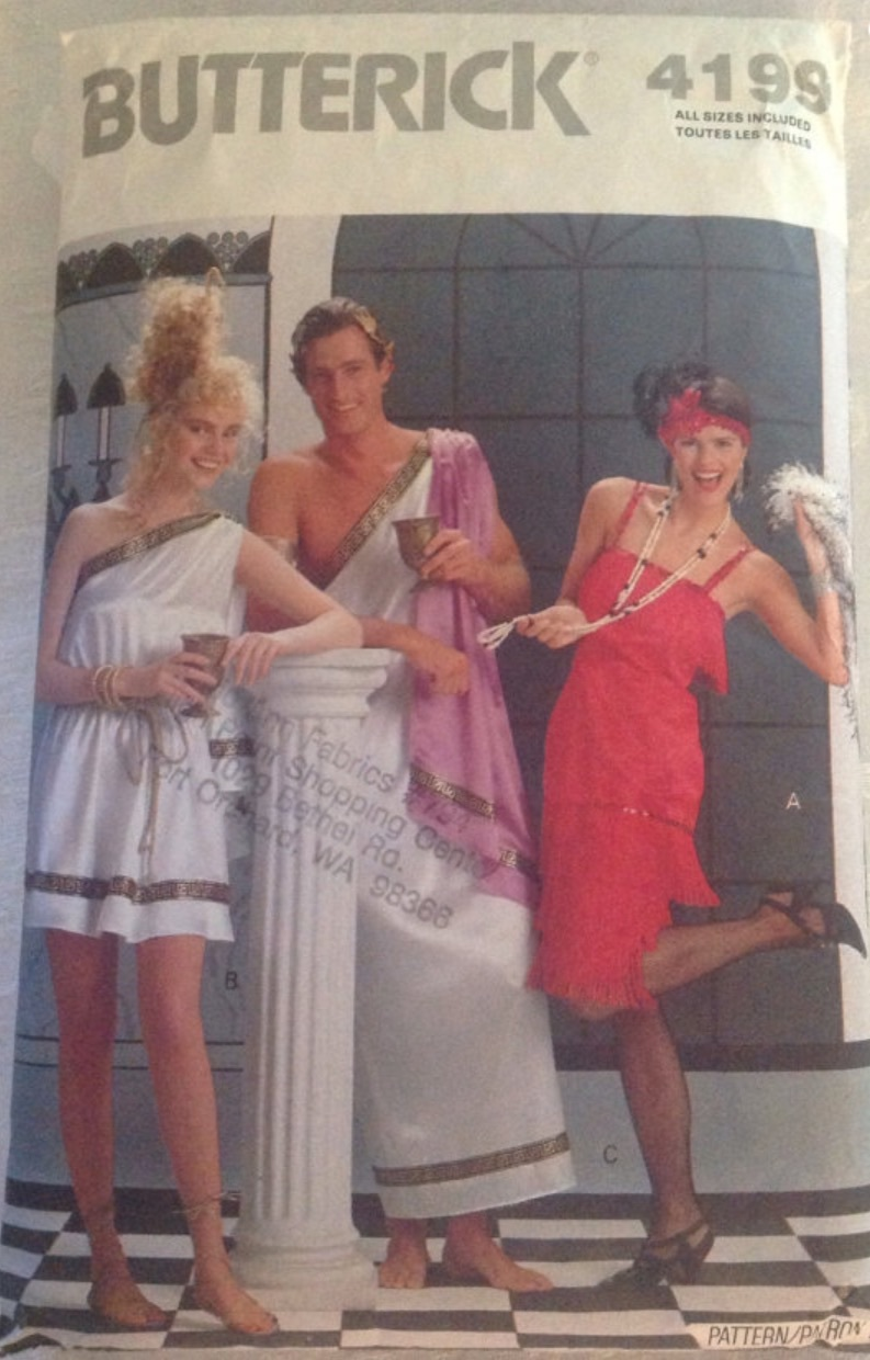 Vintage Butterick 4199 Sewing Pattern FUN Greek Toga Couples, Fringed Great Gats
